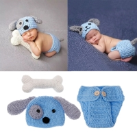 Newborn Photography Props Lovely Dog Costume Set knitting studio photography Cute photography clothes