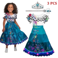 4-10T Girls Party Princess Dress Baby Girls Summer Elegant Long Sleeve Blue Dresses Birthday Party Fantasy Ball Dress