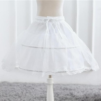 Children White Petticoat Ball Gown Solid Lace for Girls Kids Flexible Waist Drawstring Underskirt for Girls Wear Vestido S