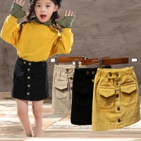 Baby Girl Skirt Spring And Autumn Children'sCorduroy SkirtCotton Gray Velvet Skirt Children'sClothing