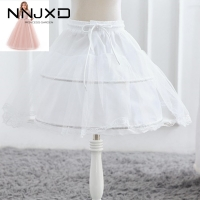 Formal White Girl Skirt Petticoat One Layer Kids Crinoline Lace Trim Flower Girls Dress Underskirt Elastic Waist Drawstring