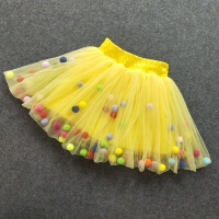 New Baby Girls Tutu Skirts Kids Elastic Waist Pettiskirt Girl Princess Tulle Skirt Colorful Pompom mini Skirts Children Clothing