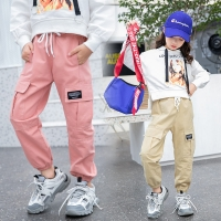 2019 Cowgirl New Arrival 4-13T Girls Cargo Pants Spring Autumn Solid Color Kids Cotton Trousers Teenage Clothing Elastic Waist Teens Cargo Pants