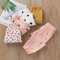 High Quality Breathable Comfort Linen Cotton Summer Fashion Children Pants Candy Color Girls Pants