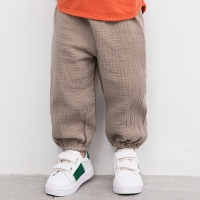 Linen Pleated Baby Boys Girls Pants Summer Cotton Straight Long Pants Kids Clothes Children Casual Trousers Breathable