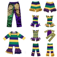 Mardi Gras holiday Mardi Gras Colors  purple, green and gold baby girls clothes leggings