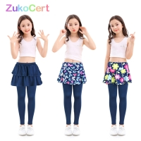 Cotton kids girls leggings with skirt Culottes Render Pants for children Flower Floral Printed Elastic Pencil Pants trousers