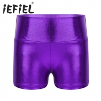 iEFiEL Kids Girls Shiny High Waist Dance Shorts Bottoms Activewear Child Clothes for Yoga Sports Workout Gym Gymnastic Dancing