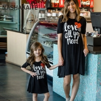 NASHAKAITE Family Look Mom and Daughter Dress Short-Sleeve Love Letter Print Mini Dress For Mommy and me Family Matching Clothes