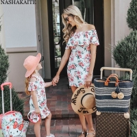 NASHAKAITE Family Look Mom and Daughter Dress Off Shoulder Ruffles Floral Mini Dress Mother and Daughter Clothes