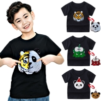 Panda Tiger Dinosaur Sequin Children T Shirt for Boys Tshirts Kids T Shirt Cartoon Print Summer Tops T-shirts for Baby Clothes