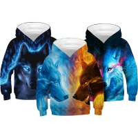 Wolf Tiger 3D Print Boys Hoodies Teens Spring Autumn Outerwear Kids Hooded Sweatshirt Clothes Children Long Sleeve Pullover Tops