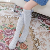 Bow cotton silk stockings diamond lattice mesh breath girls leg warmers straight kids cotton knee high girl fashion leg warmers