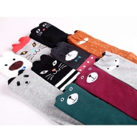 The new cotton leg warmers children straight three-dimensional cartoon cat ear knee-high legwarm baby girls leg warmers