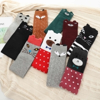 Children's cartoon leg warmers cotton cat fox cute girls stockings joker half tube silk stockings knee-high kids leg warmers