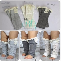 1 Pair Winter Christmas Socks Warm Kids Girls Baby Trendy Knitted Lace Leg Warmers Infants Toddlers Trim Boot Cuffs Socks