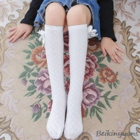 Girls Spring and Autumn Summer Cotton Grid Bows Stockings Children's Diamond Mesh Straight Bows Stockings