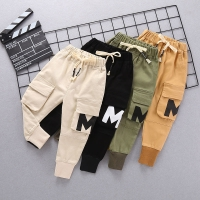 INS hot baby boys pants 0-5 years old Big pocket stitching letters Spring and autumn children's Fashion overalls cotton trousers