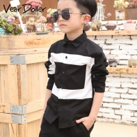 VearDoller Casual Children's Tops Summer Autumn Long Sleeve Cotton Kids Shirts Black White Patchwork Boys Shirts 2-8Years
