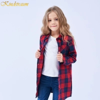 Kindstraum 2020 New Blouse Long Girls Plaid Shirts High Cotton Children Buttons Clothes Autumn Full Length Wear for Kids,DC177