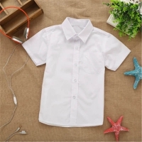 2019 new summer spring lace cotton solid White baby kids boys Blouse white shirts  with Short sleeves for children boys