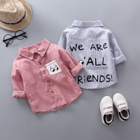 DIIMUU Spring&Autumn Kids Boys Clothes Cotton Tops Child Baby Boy Striped Letter Print Shirts Casual Clothing