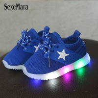 LED Light Shoes Kids 1-3 years baby sneakers with backlight Pink Girls Shoes Toddler Breathable Casual Black/Blue Shoes B08012