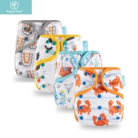 2019 new design! Happy Flute 1 pcs color-edged diaper waterproof cover eco-friendly diaper cover