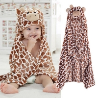 Cute Cartoon Baby Hooded Bath Towel Soft Infant Newborn Baby Giraffe Bear Shaped Bathrobe Towel Blanket  Washcloth 100cm