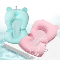 Baby Bath Seat Support Mat Foldable Baby Bath Tub Pad & Chair Newborn Bathtub Pillow Infant Anti-Slip Soft Comfort Body Cushion