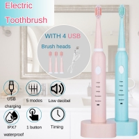 USB Rechargeable Electric Toothbrush 5 Mode Whitening Healthy Travel Toothbrush with 3 Replaceable Brush Head Gift for Adult Kid