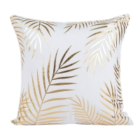 New Luxury Gold Foil Printing Cover of Pillow Soft Waist Throw Pillow Cover Home Gold and white Color Pillow Case PP23