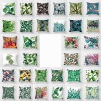 hot saleTropical Green Plant Leaves Flower Linen Cover Pillow Case green print pillowcases  pp18