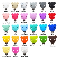 Chenkai 10PCS Round Bear Star Silicone Teether Clips DIY Baby Pacifier Dummy Chain Holder Soother Nursing Jewelry Toy Clips