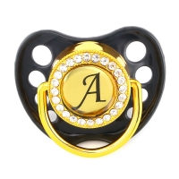 Name Initial Letters Silicone Newborn Kids Baby Orthodontic Dummy Pacifier Teat Nipple Soother Baby Pacifier Holder