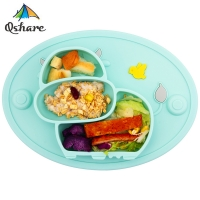 Qshare Baby Plate Tableware Children Food Feeding Container Placemat Baby Dishes Infant Feeding Silicone Suction Bowl for Kid