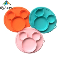 Qshare Baby FDA Silicone Baby Bowl Mickey Plate for kids with Lid BPA Free Feeding Kids Tableware Children Dining Dishes