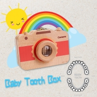 Hot Selling Children Camera Shape Tooth Wood Box Organizer Baby Save Milk Teeth Storage Case