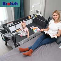 Multifunctional Baby Crib Foldable Baby Bed With Diaper Table Cradle Rocker Kid Game Bed Portable Baby Crib For 0-6 Years Kids