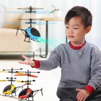 Mini RC Drone Flying RC Helicopter with Remote Control Aircraft Suspension Induction Helicopter LED Light Toys for Children Gift