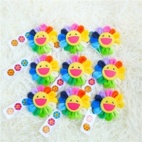 Cute Smile Cartoon Sunflower Plush Toys Creative Brooches Stuffed Toys Small Pendant Denim Hat Badge Collar Decoration