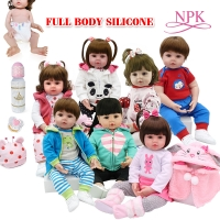47cm Full Body Silicone Water Proof Bath Toy Popular Reborn Toddler Baby Dolls Bebe Doll Reborn Lifelike Gift With Pearl Bottle