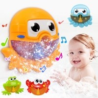 Baby Bath Toy Bubble Maker Swimming Bathtub Soap Machine Toy Outdoor Blowing Bubble Frog&Crabs for Children With Music Water Toy