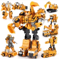 Transformation Robot Car Metal Alloy Engineering Construction Vehicle Truck Model Excavator Toys 2 in 1  Kid  Crane Gifts