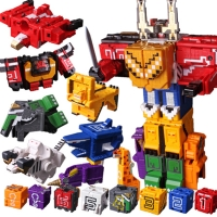 ThinkEasy Power Assembling Educational Toys 3D math transformation robot digits puzzle Ranger Animals boy toy for Kids