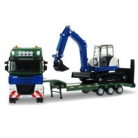 KAIDIWEI 2pcs/set 1:50 Alloy Low Loader With Excavator Toy Car Model