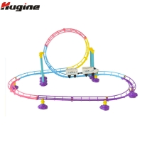 Rail Car Children's Toy Electric Track Racing Hand Crank Toy Train Light Assemble Track Driving Simulation Subway Children Toy