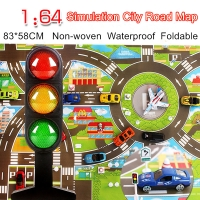 Waterproof 83*58CM Car Toy Playmat Simulation Toys City Road Map Parking Lot Playing Mat Portable Floor Games 2 maps w/Guidepost