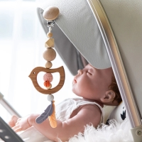 1pc Wooden Music Rattle Animal Star Mobile Holder Teething Pendant Wooden Gym Rodent Silicone Beads Necklace Clip Stroller Arch