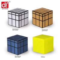 QiYi 3x3x3 Mirror Magic Cube puzzle Speed Magico Cube baby kids Toys with Gold Silver sticker stickers